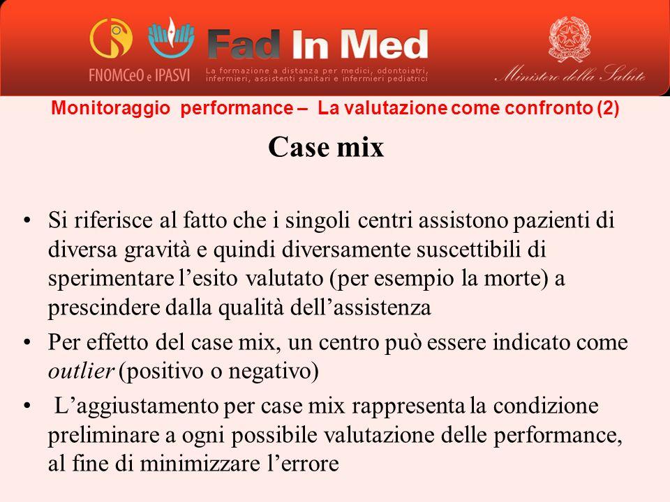 Monitoraggio performance – La valutazione come confronto (2) Case mix Si riferisce al fatto che i singoli centri assistono pazienti di diversa gravità