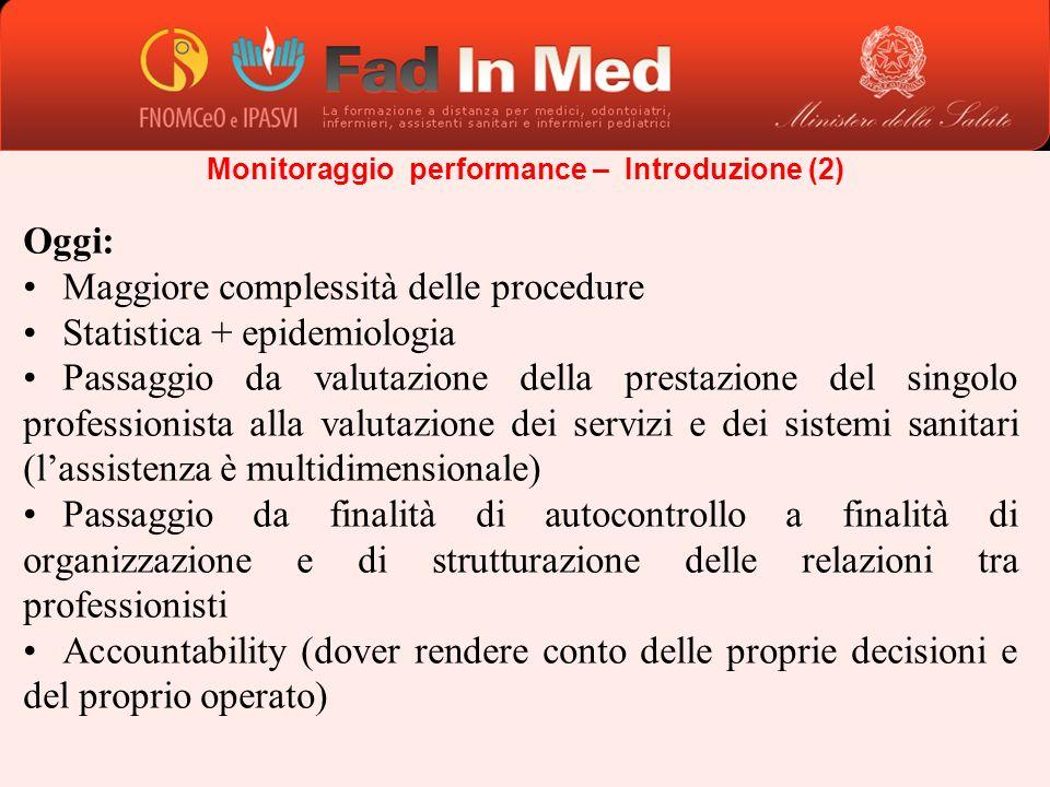 Oggi: Maggiore complessità delle procedure Statistica + epidemiologia Passaggio da valutazione della prestazione del singolo professionista alla valut
