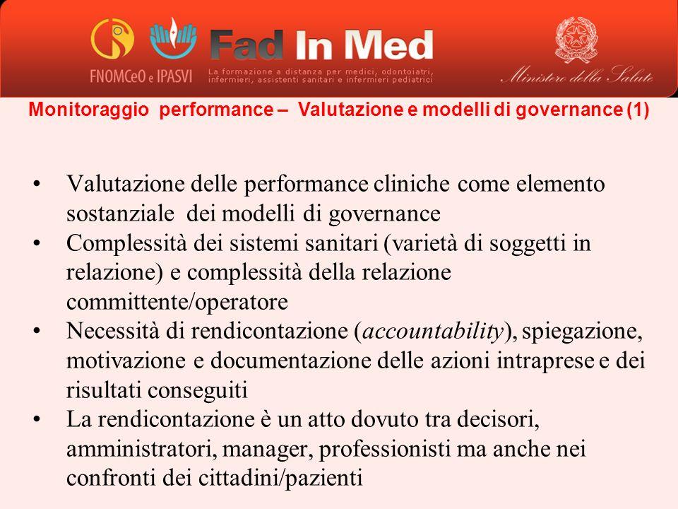 Monitoraggio performance – Valutazione e modelli di governance (1) Valutazione delle performance cliniche come elemento sostanziale dei modelli di gov