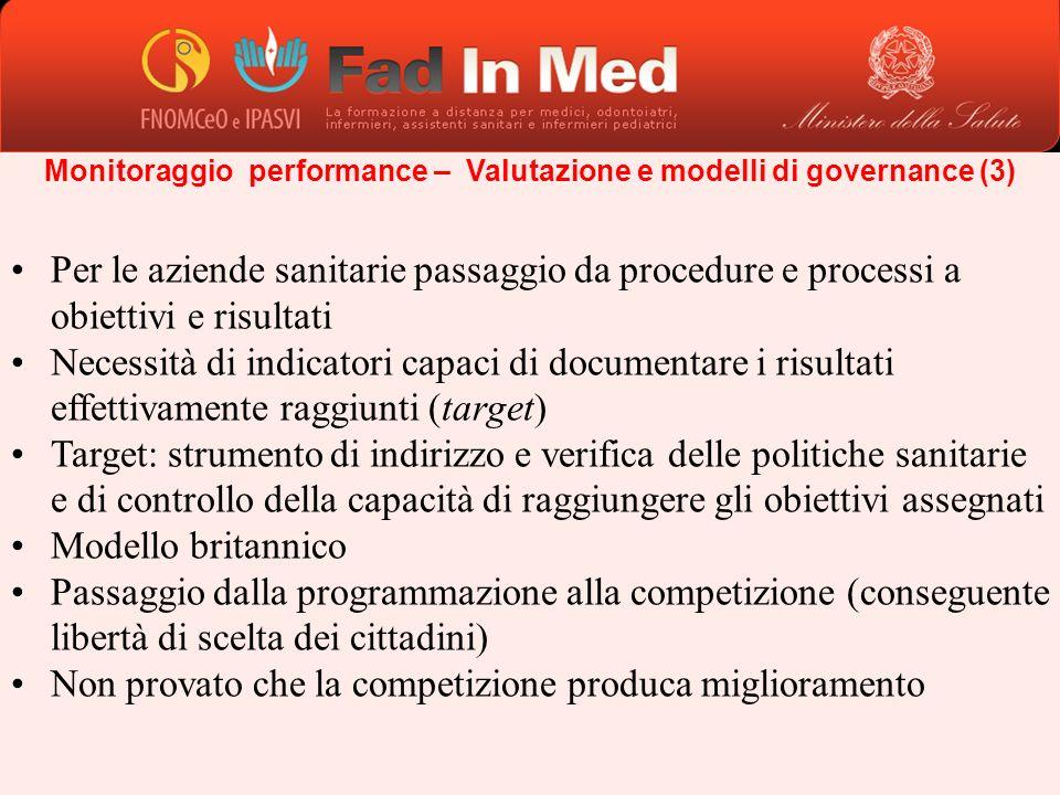 Monitoraggio performance – Valutazione e modelli di governance (3) Per le aziende sanitarie passaggio da procedure e processi a obiettivi e risultati