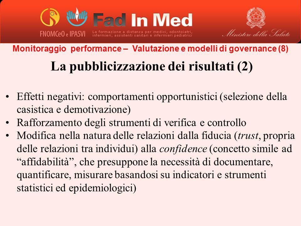 Monitoraggio performance – Valutazione e modelli di governance (8) La pubblicizzazione dei risultati (2) Effetti negativi: comportamenti opportunistic