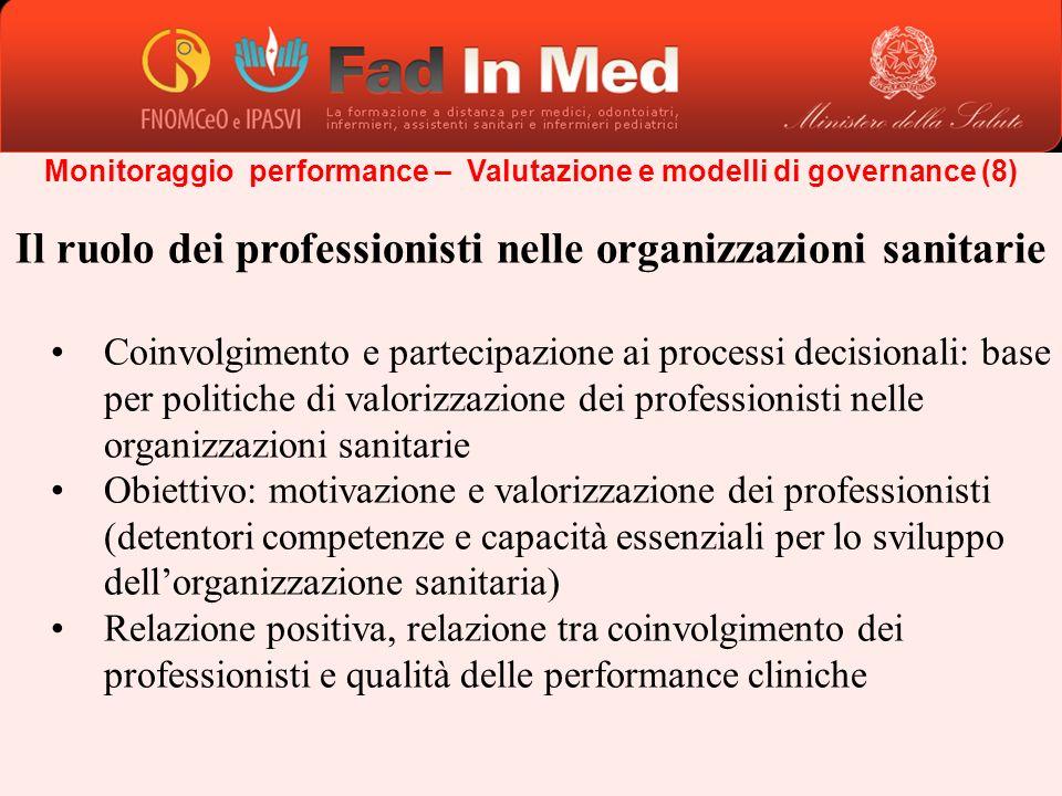 Monitoraggio performance – Valutazione e modelli di governance (8) Il ruolo dei professionisti nelle organizzazioni sanitarie Coinvolgimento e parteci