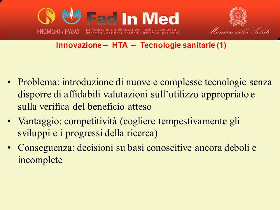 Problema: introduzione di nuove e complesse tecnologie senza disporre di affidabili valutazioni sullutilizzo appropriato e sulla verifica del benefici