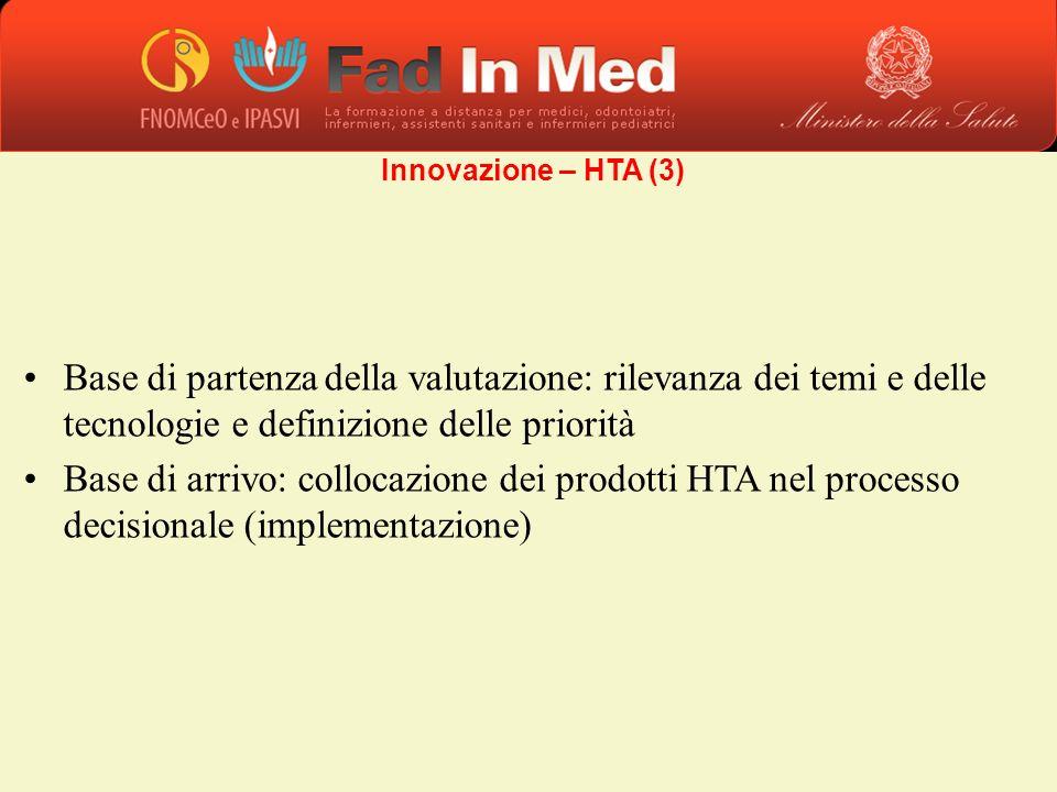 Base di partenza della valutazione: rilevanza dei temi e delle tecnologie e definizione delle priorità Base di arrivo: collocazione dei prodotti HTA n