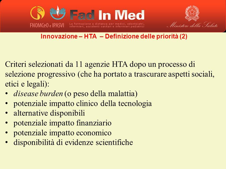 Criteri selezionati da 11 agenzie HTA dopo un processo di selezione progressivo (che ha portato a trascurare aspetti sociali, etici e legali): disease