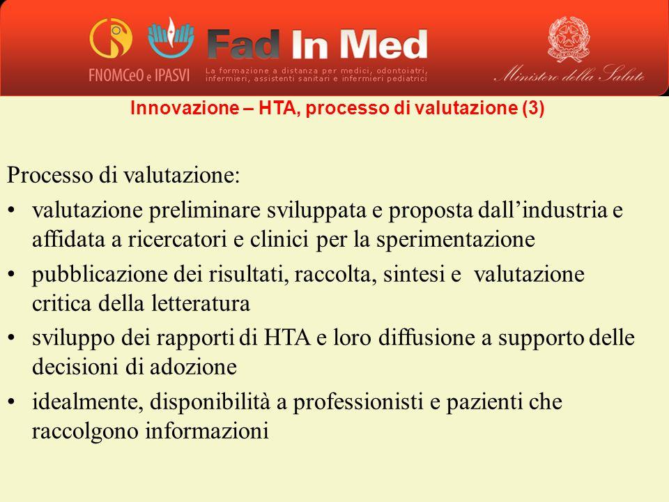 Processo di valutazione: valutazione preliminare sviluppata e proposta dallindustria e affidata a ricercatori e clinici per la sperimentazione pubblic