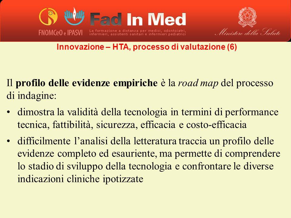 Il profilo delle evidenze empiriche è la road map del processo di indagine: dimostra la validità della tecnologia in termini di performance tecnica, f