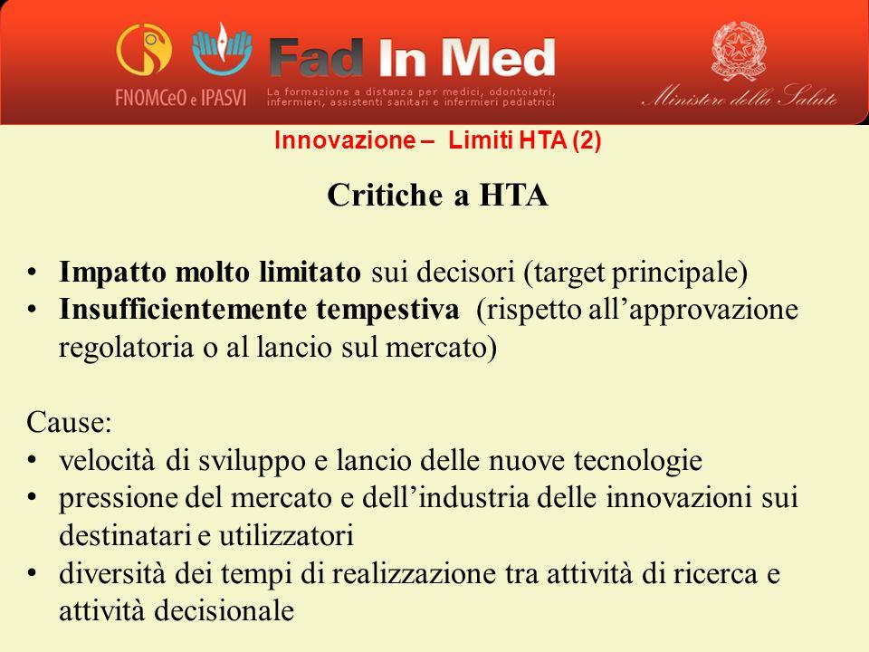 Critiche a HTA Impatto molto limitato sui decisori (target principale) Insufficientemente tempestiva (rispetto allapprovazione regolatoria o al lancio