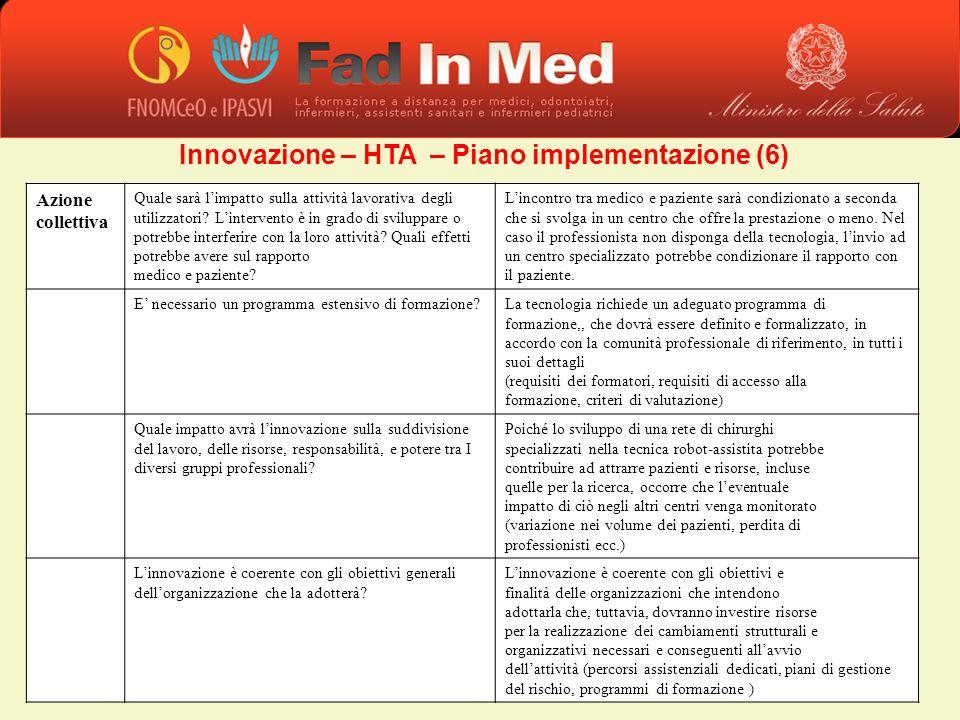 Innovazione – HTA – Piano implementazione (6) Azione collettiva Quale sarà limpatto sulla attività lavorativa degli utilizzatori? Lintervento è in gra