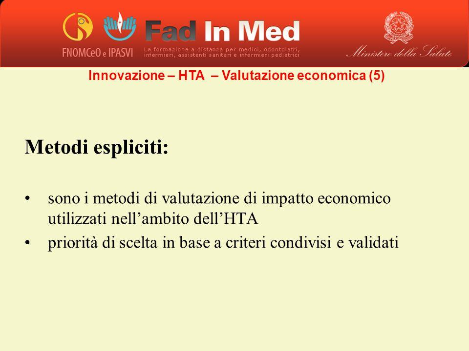 Metodi espliciti: sono i metodi di valutazione di impatto economico utilizzati nellambito dellHTA priorità di scelta in base a criteri condivisi e val