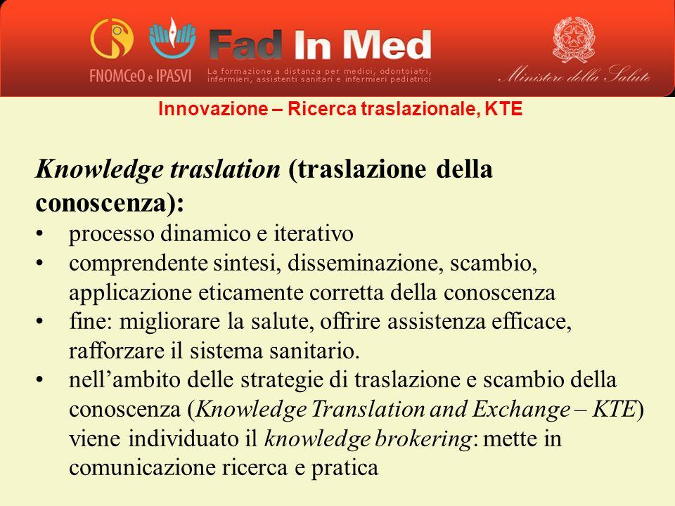 Knowledge traslation (traslazione della conoscenza): processo dinamico e iterativo comprendente sintesi, disseminazione, scambio, applicazione eticame
