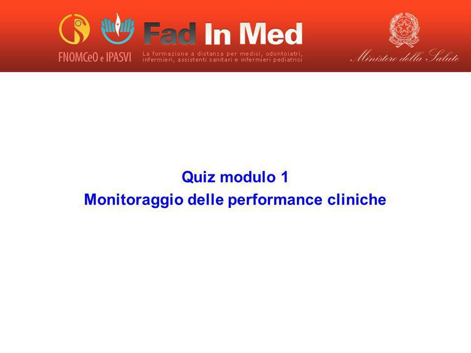 Quiz modulo 1 Monitoraggio delle performance cliniche