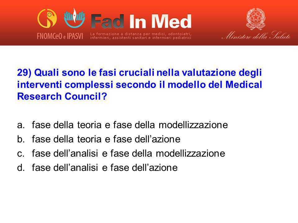 29) Quali sono le fasi cruciali nella valutazione degli interventi complessi secondo il modello del Medical Research Council? a.fase della teoria e fa