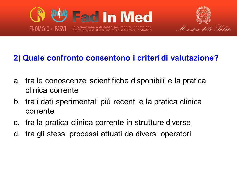 2) Quale confronto consentono i criteri di valutazione? a.tra le conoscenze scientifiche disponibili e la pratica clinica corrente b.tra i dati sperim
