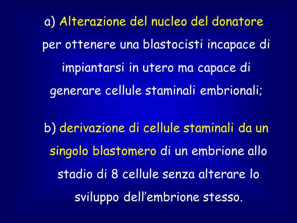a) Alterazione del nucleo del donatore per ottenere una blastocisti incapace di impiantarsi in utero ma capace di generare cellule staminali embrionali; b) derivazione di cellule staminali da un singolo blastomero di un embrione allo stadio di 8 cellule senza alterare lo sviluppo dellembrione stesso.
