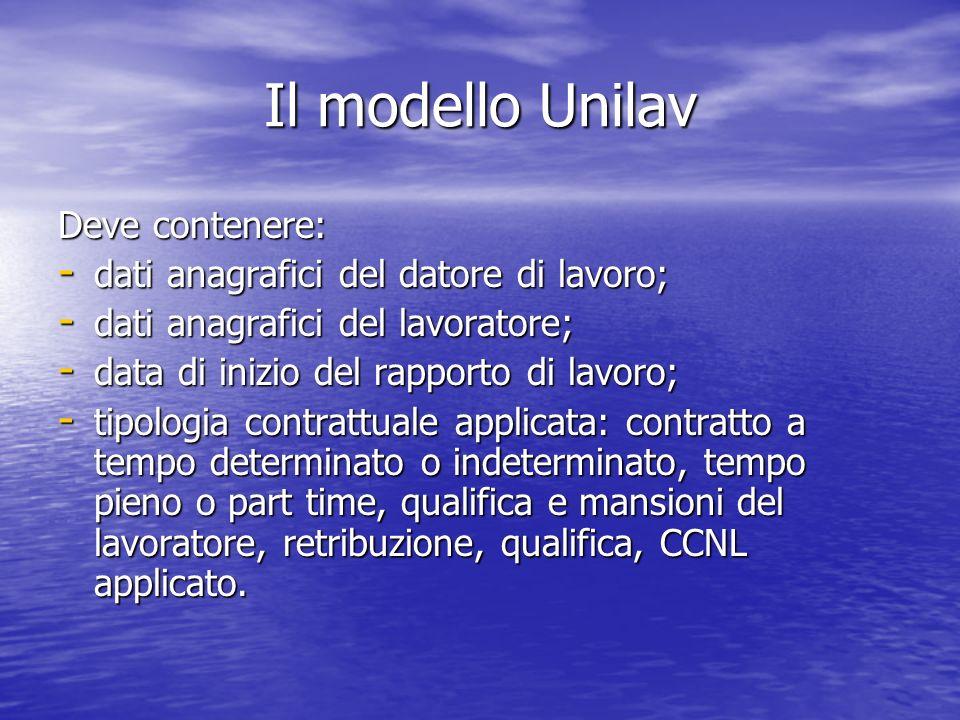 Il modello Unilav Deve contenere: - dati anagrafici del datore di lavoro; - dati anagrafici del lavoratore; - data di inizio del rapporto di lavoro; -