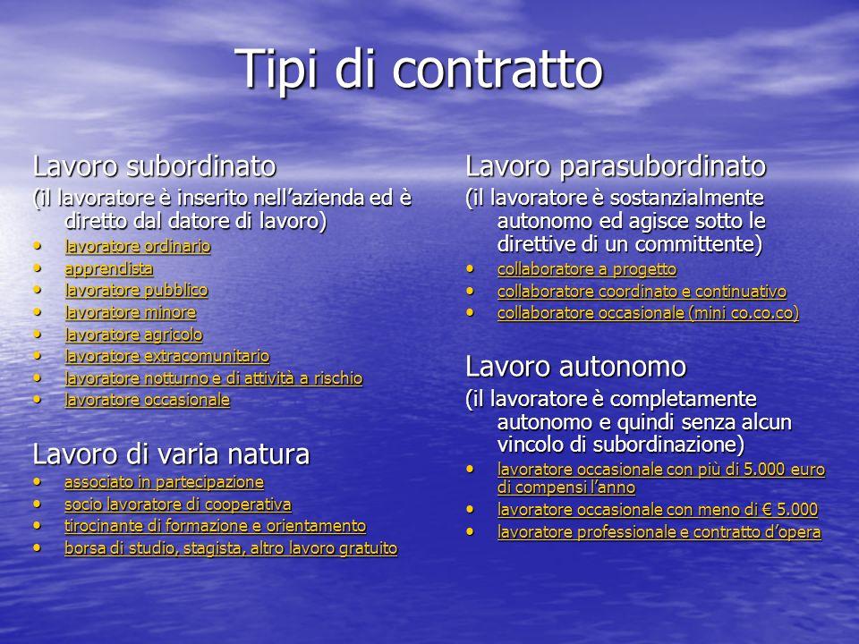 Tipi di contratto Lavoro subordinato (il lavoratore è inserito nellazienda ed è diretto dal datore di lavoro) lavoratore ordinario lavoratore ordinari