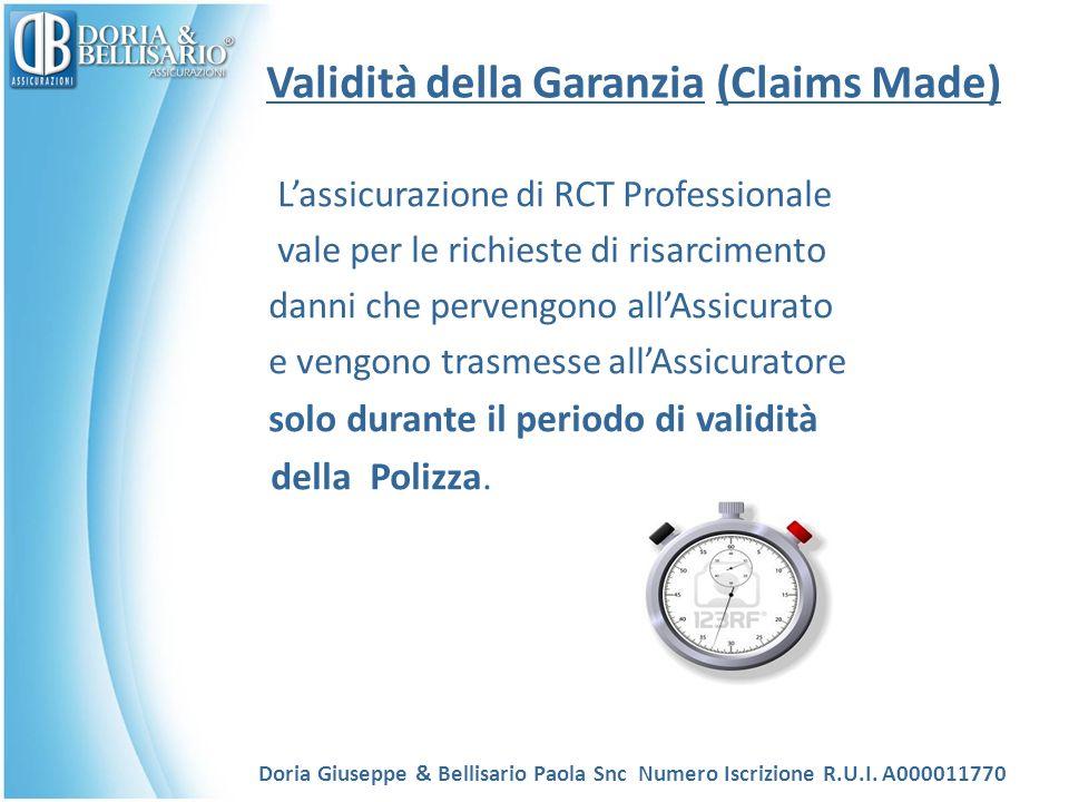 Validità della Garanzia (Claims Made) Lassicurazione di RCT Professionale vale per le richieste di risarcimento danni che pervengono allAssicurato e vengono trasmesse allAssicuratore solo durante il periodo di validità della Polizza.
