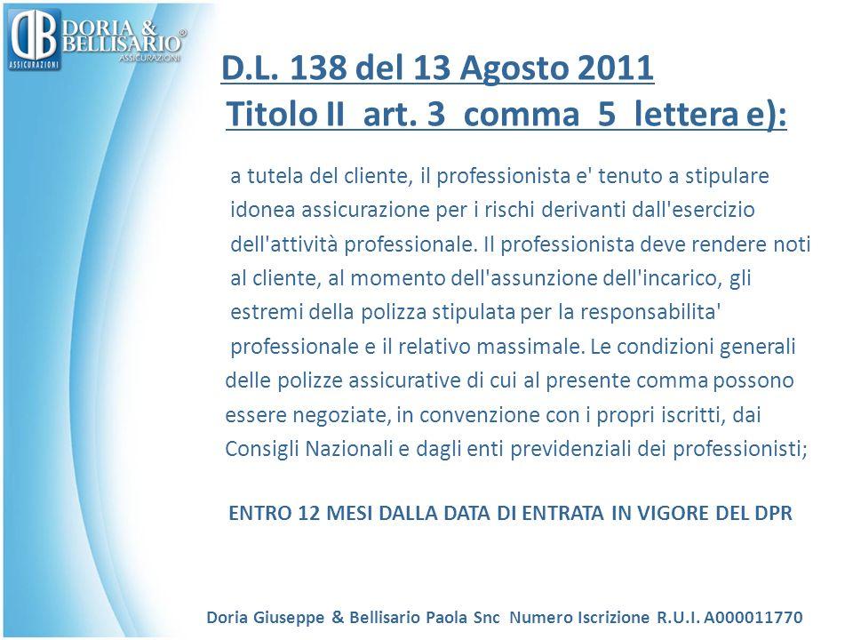 D.L. 138 del 13 Agosto 2011 Titolo II art.