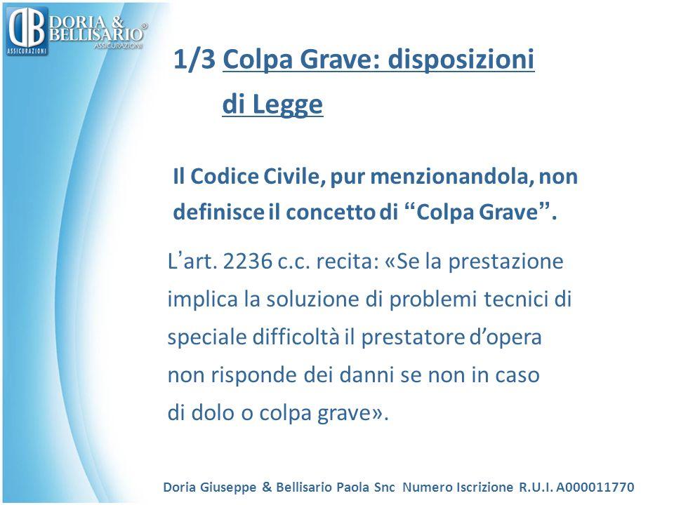 1/3 Colpa Grave: disposizioni di Legge Il Codice Civile, pur menzionandola, non definisce il concetto di Colpa Grave.