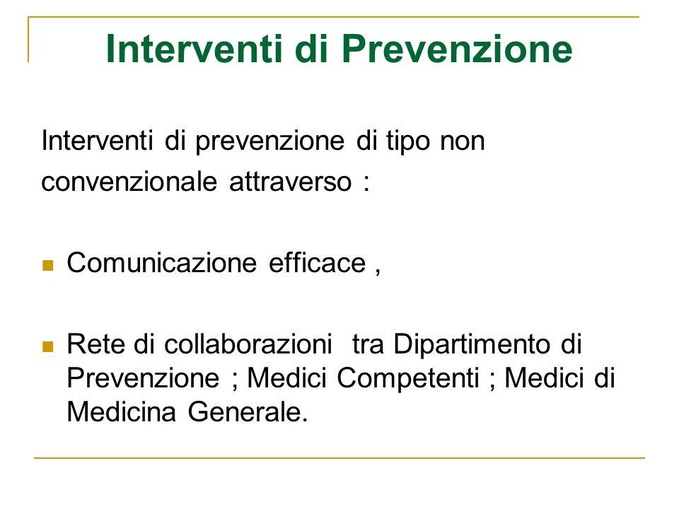 Interventi di Prevenzione Interventi di prevenzione di tipo non convenzionale attraverso : Comunicazione efficace, Rete di collaborazioni tra Dipartimento di Prevenzione ; Medici Competenti ; Medici di Medicina Generale.