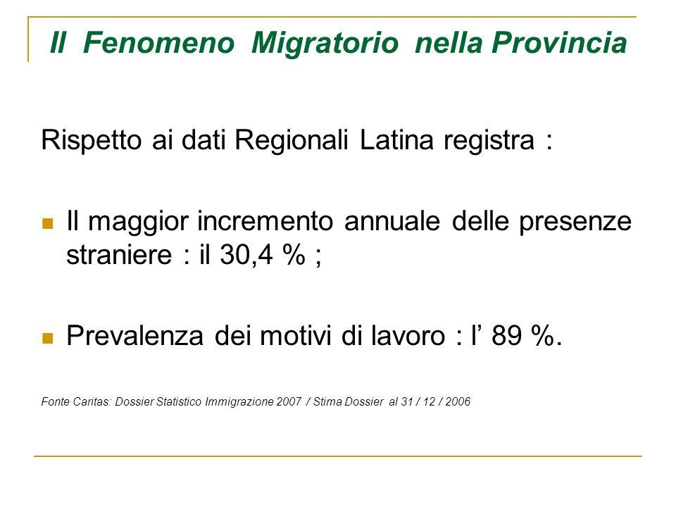 Il Fenomeno Migratorio nella Provincia Le stime tuttavia escludono gli stranieri: Presenti in Italia in modo irregolare; Non iscritti nelle liste anagrafiche.