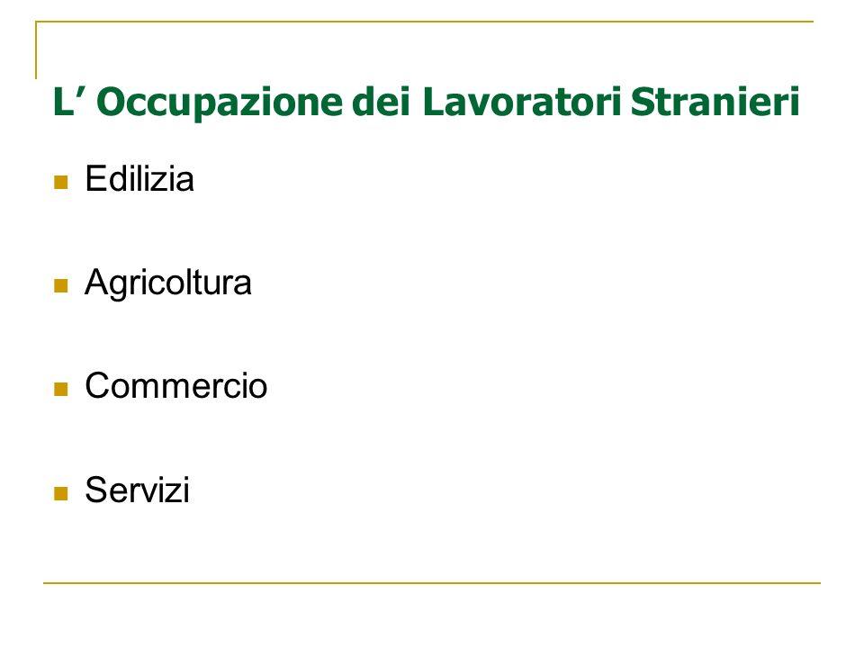 L Occupazione dei Lavoratori Stranieri Edilizia Agricoltura Commercio Servizi