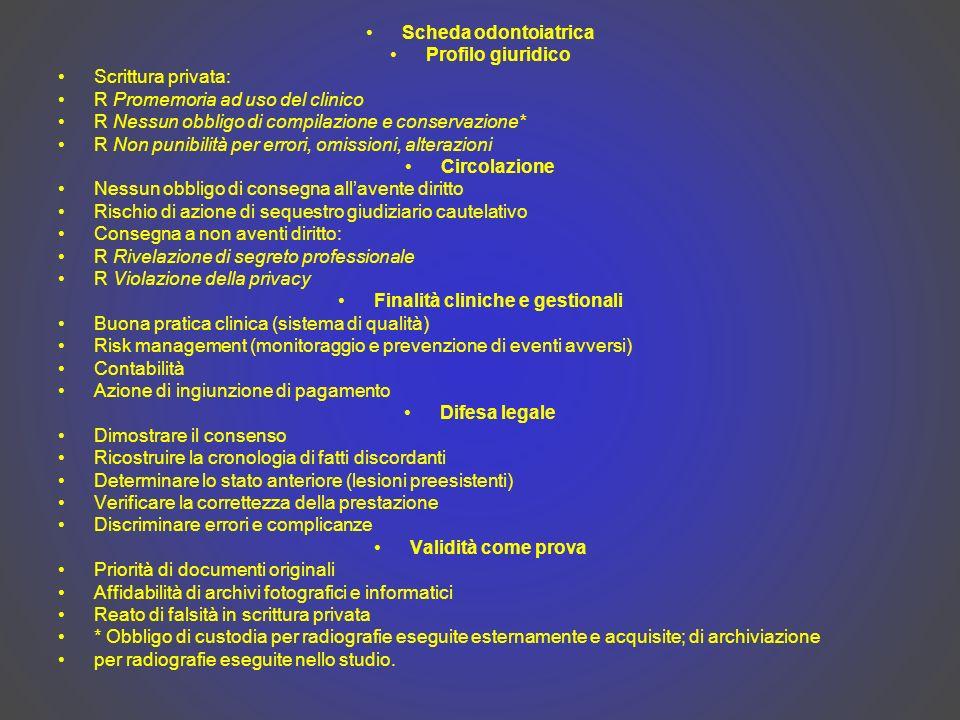 Scheda odontoiatrica Profilo giuridico Scrittura privata: R Promemoria ad uso del clinico R Nessun obbligo di compilazione e conservazione* R Non puni