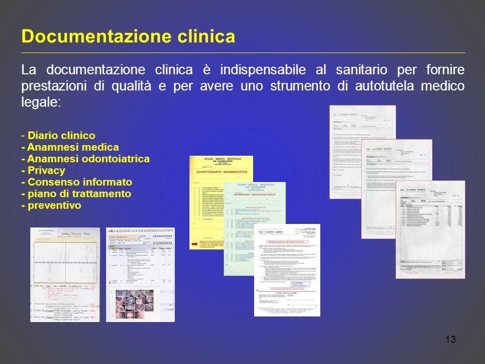 13 - Diario clinico - Anamnesi medica - Anamnesi odontoiatrica - Privacy - Consenso informato - piano di trattamento - preventivo La documentazione cl