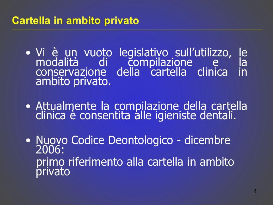 Vi è un vuoto legislativo sullutilizzo, le modalità di compilazione e la conservazione della cartella clinica in ambito privato. Attualmente la compil