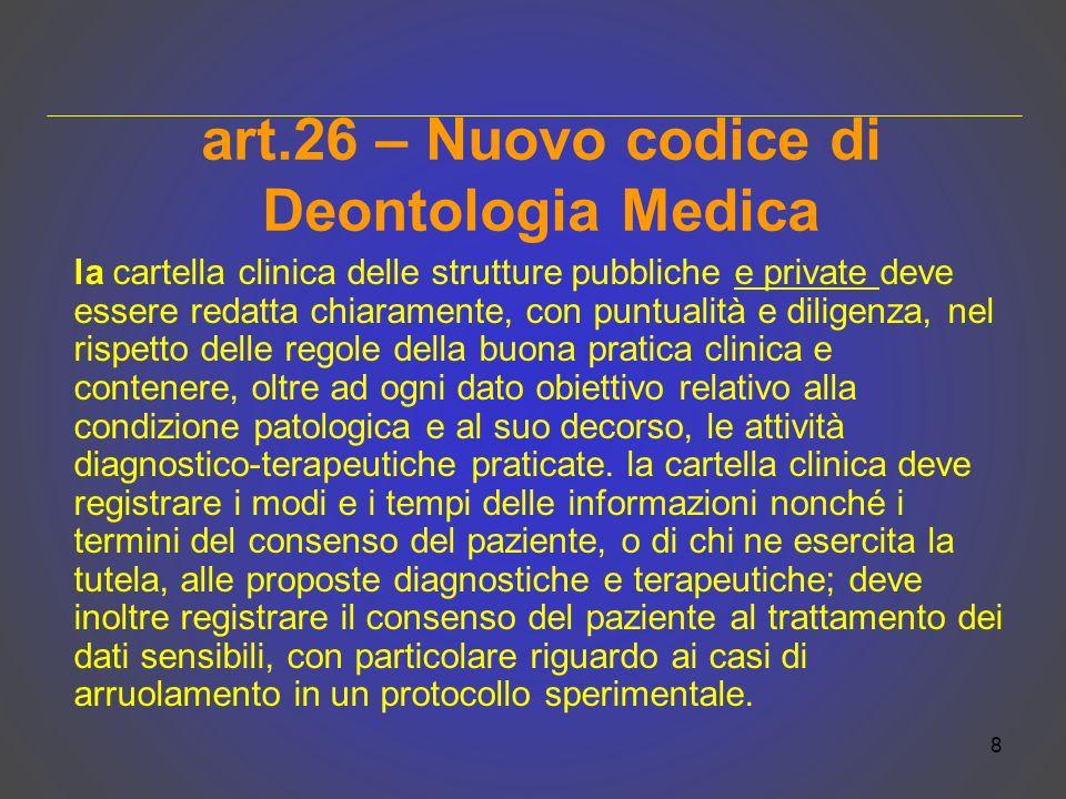 art.26 – Nuovo codice di Deontologia Medica la cartella clinica delle strutture pubbliche e private deve essere redatta chiaramente, con puntualità e
