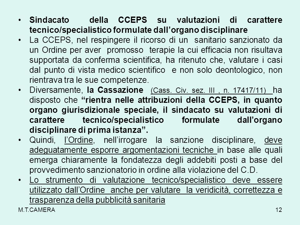 Sindacato della CCEPS su valutazioni di carattere tecnico/specialistico formulate dallorgano disciplinare La CCEPS, nel respingere il ricorso di un sa