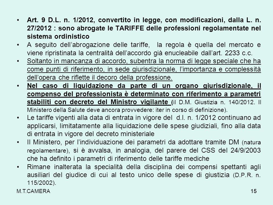 15 Art. 9 D.L. n. 1/2012, convertito in legge, con modificazioni, dalla L. n. 27/2012 : sono abrogate le TARIFFE delle professioni regolamentate nel s