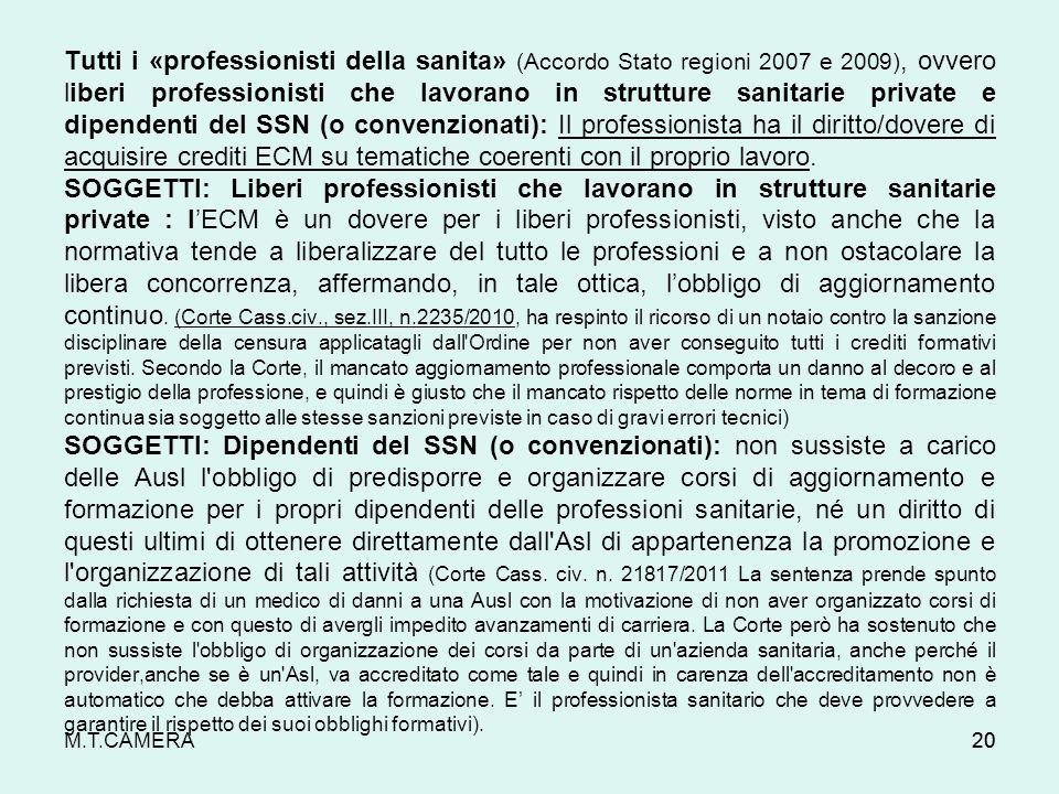 M.T.CAMERA Tutti i «professionisti della sanita» (Accordo Stato regioni 2007 e 2009), ovvero liberi professionisti che lavorano in strutture sanitarie
