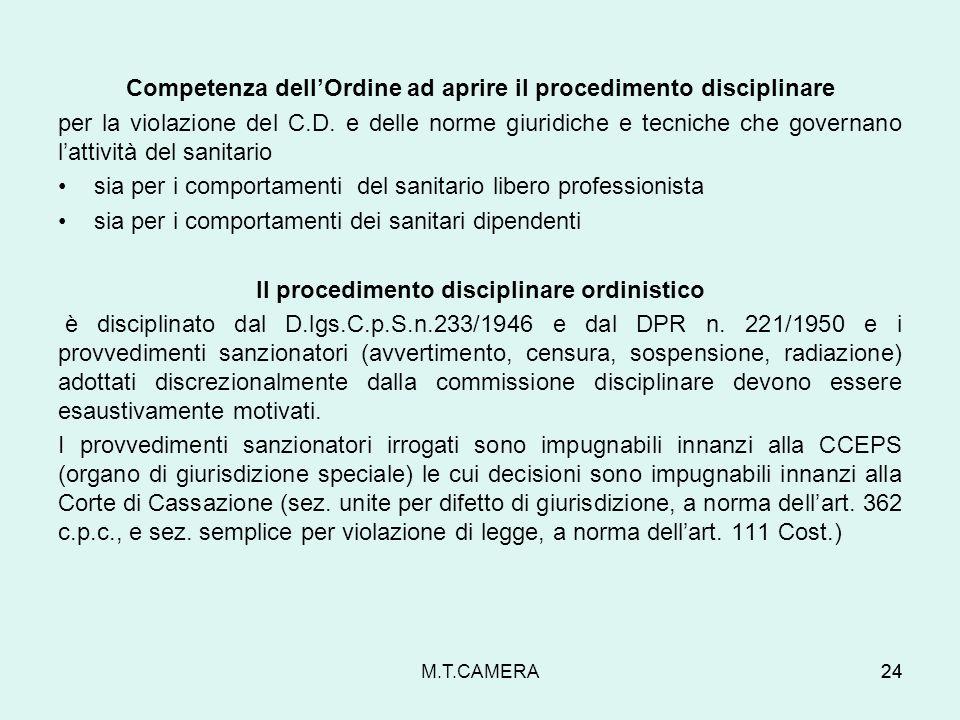 Competenza dellOrdine ad aprire il procedimento disciplinare per la violazione del C.D. e delle norme giuridiche e tecniche che governano lattività de