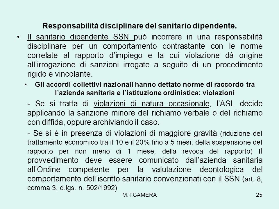 Responsabilità disciplinare del sanitario dipendente. Il sanitario dipendente SSN può incorrere in una responsabilità disciplinare per un comportament