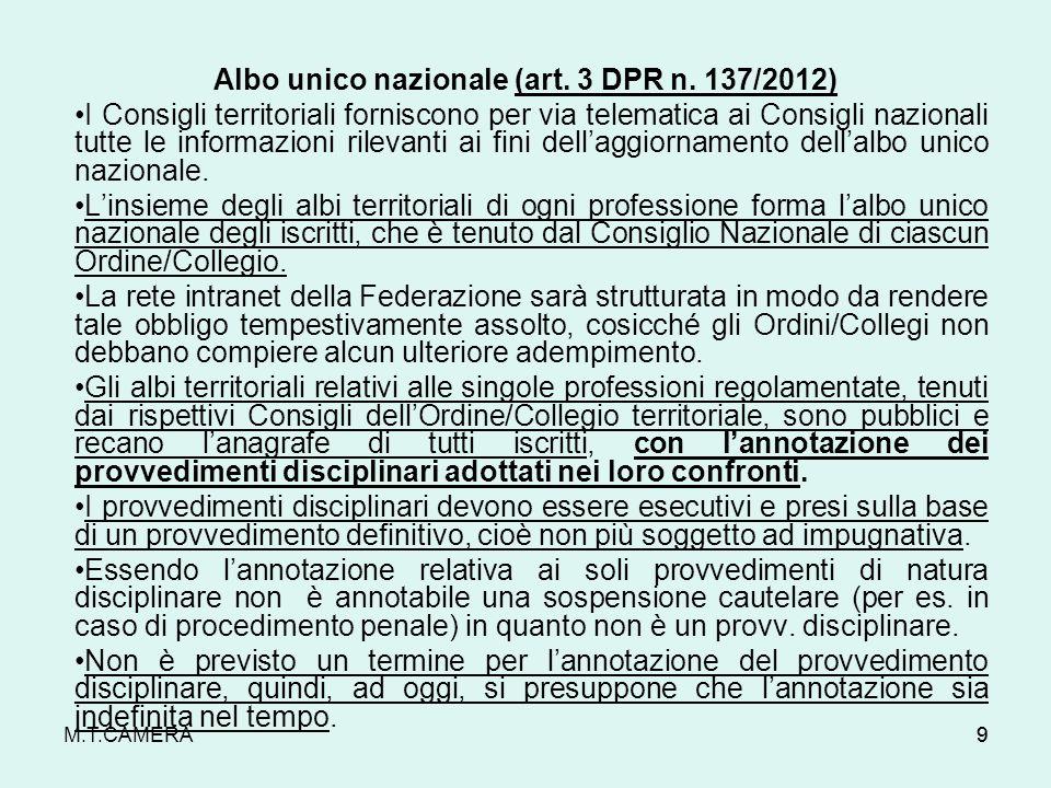 M.T.CAMERA Albo unico nazionale (art. 3 DPR n. 137/2012) I Consigli territoriali forniscono per via telematica ai Consigli nazionali tutte le informaz