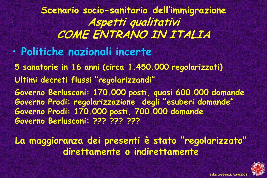 Politiche nazionali incerte Salvatore Geraci, Roma 2008 5 sanatorie in 16 anni (circa 1.450.000 regolarizzati) Ultimi decreti flussi regolarizzandi Go