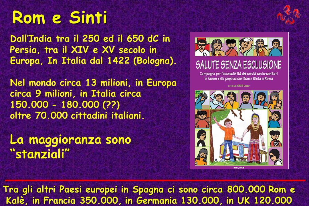 Rom e Sinti DallIndia tra il 250 ed il 650 dC in Persia, tra il XIV e XV secolo in Europa, In Italia dal 1422 (Bologna). Nel mondo circa 13 milioni, i