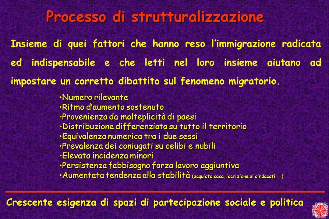 Processo di strutturalizzazione Insieme di quei fattori che hanno reso limmigrazione radicata ed indispensabile e che letti nel loro insieme aiutano a