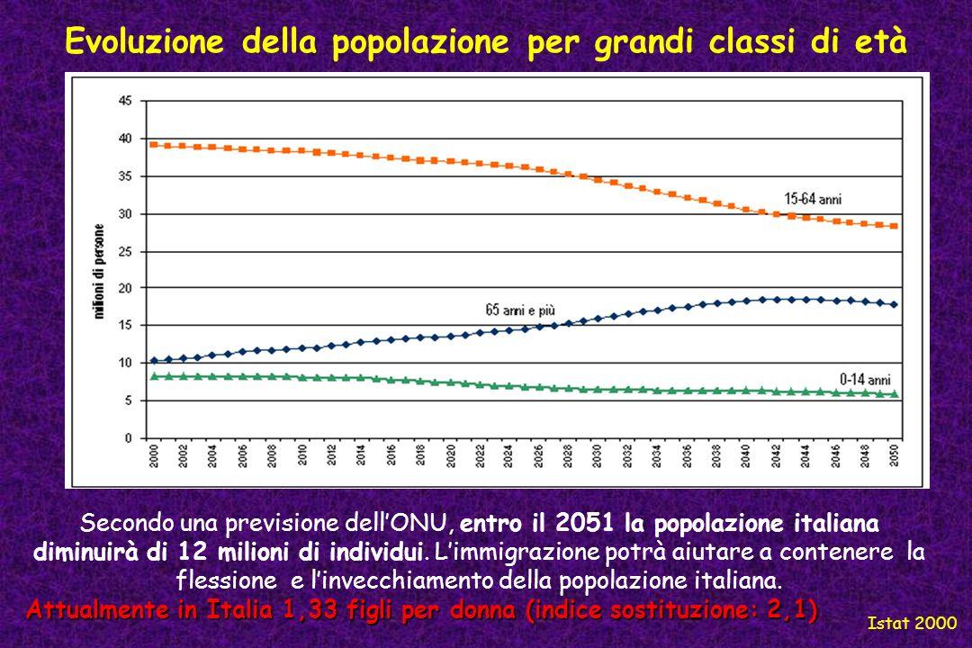 Evoluzione della popolazione per grandi classi di età Istat 2000 Secondo una previsione dellONU, entro il 2051 la popolazione italiana diminuirà di 12