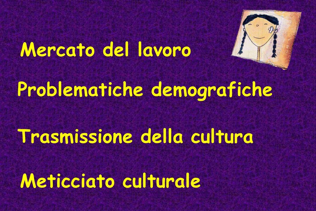 Mercato del lavoro Problematiche demografiche Trasmissione della cultura Meticciato culturale