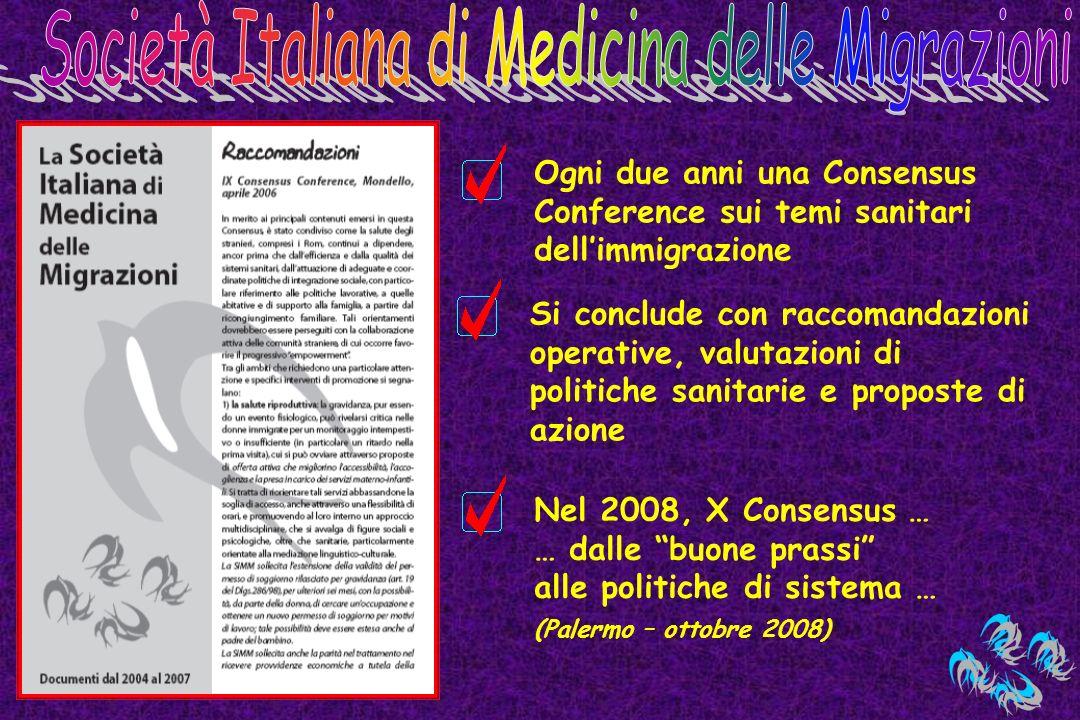 Ogni due anni una Consensus Conference sui temi sanitari dellimmigrazione Si conclude con raccomandazioni operative, valutazioni di politiche sanitari