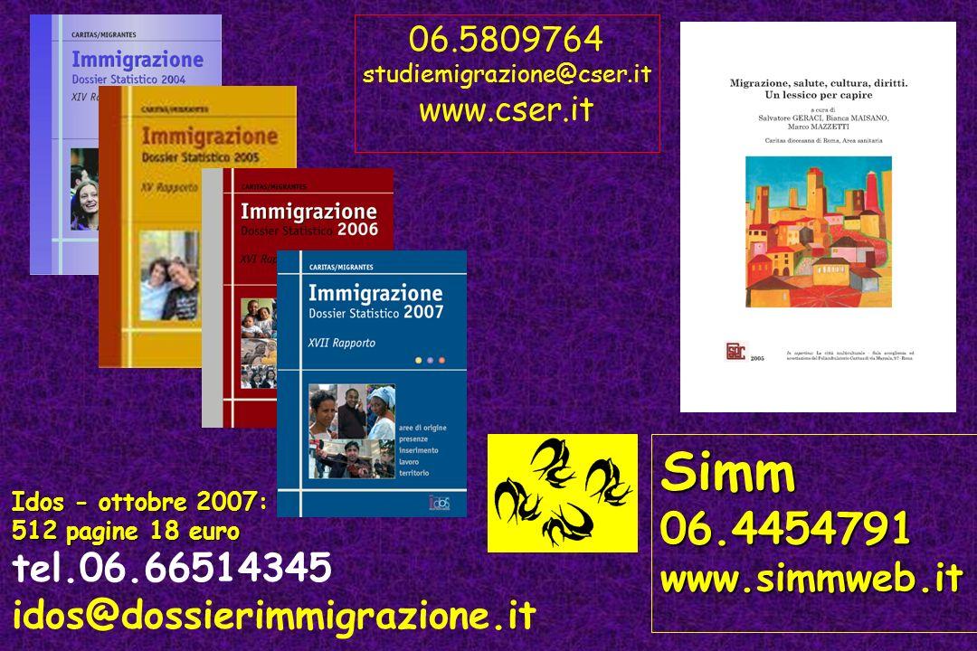 Idos - ottobre 2007: 512 pagine 18 euro tel.06.66514345 idos@dossierimmigrazione.it Simm06.4454791www.simmweb.it 06.5809764 studiemigrazione@cser.it w