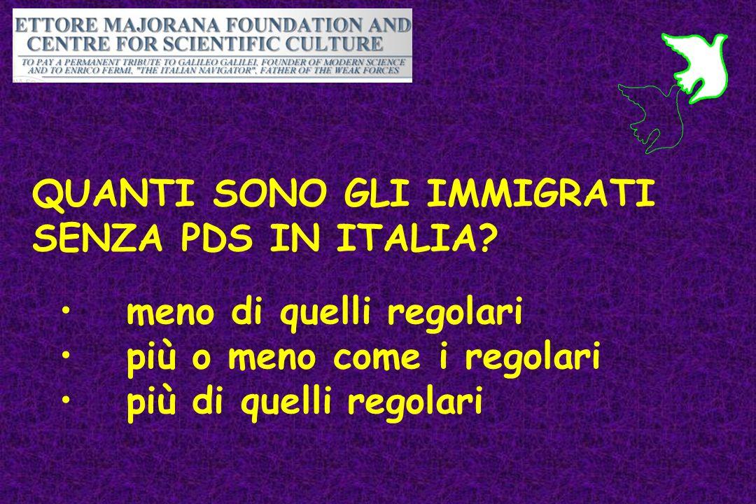 QUANTI SONO GLI IMMIGRATI SENZA PDS IN ITALIA? meno di quelli regolari più o meno come i regolari più di quelli regolari