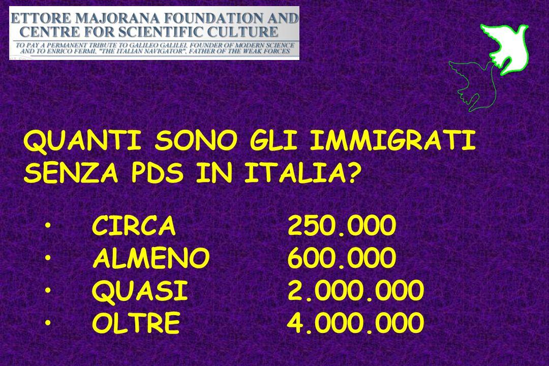 QUANTI SONO GLI IMMIGRATI SENZA PDS IN ITALIA? CIRCA 250.000 ALMENO 600.000 QUASI 2.000.000 OLTRE4.000.000