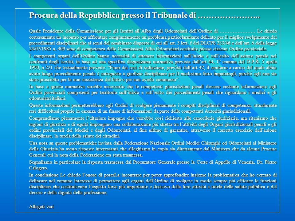 Procura della Repubblica presso il Tribunale di …………………..