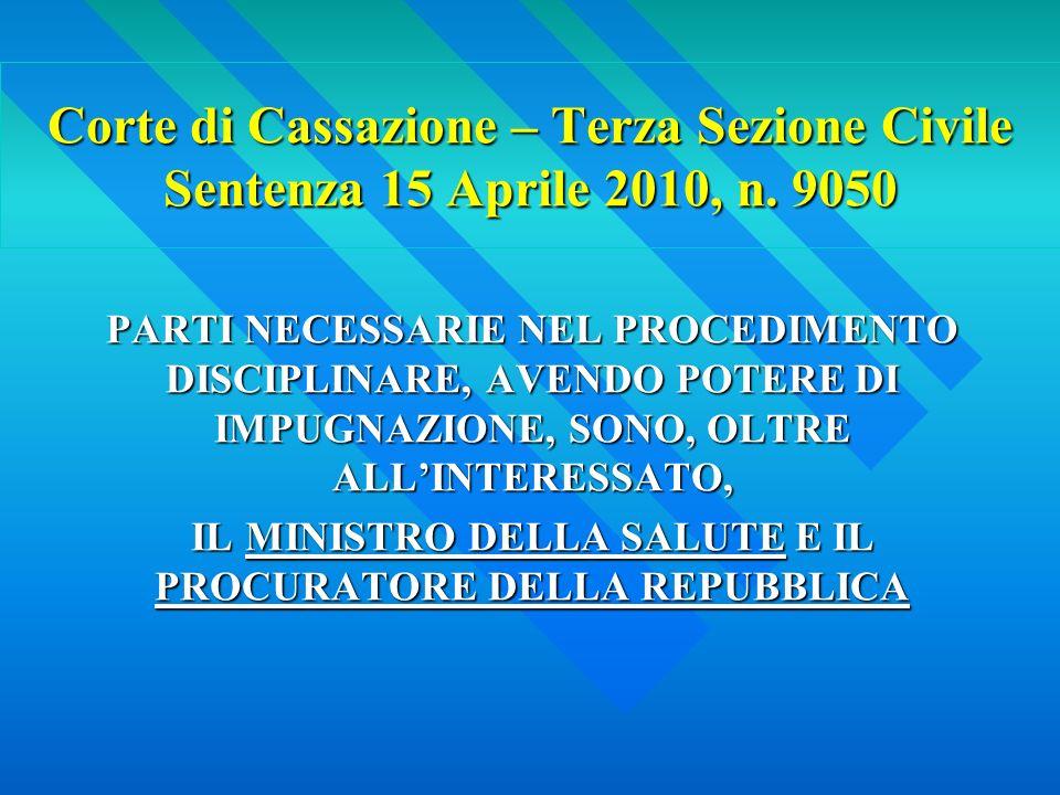 Corte di Cassazione – Terza Sezione Civile Sentenza 15 Aprile 2010, n.