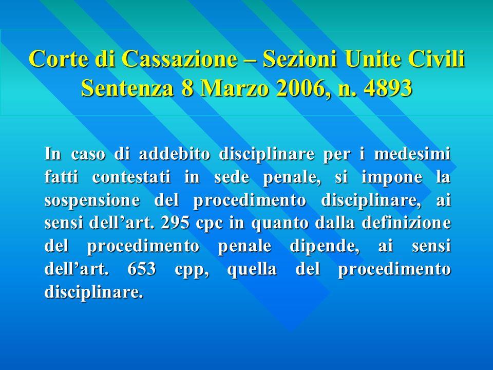 Corte di Cassazione – Sezioni Unite Civili Sentenza 8 Marzo 2006, n.