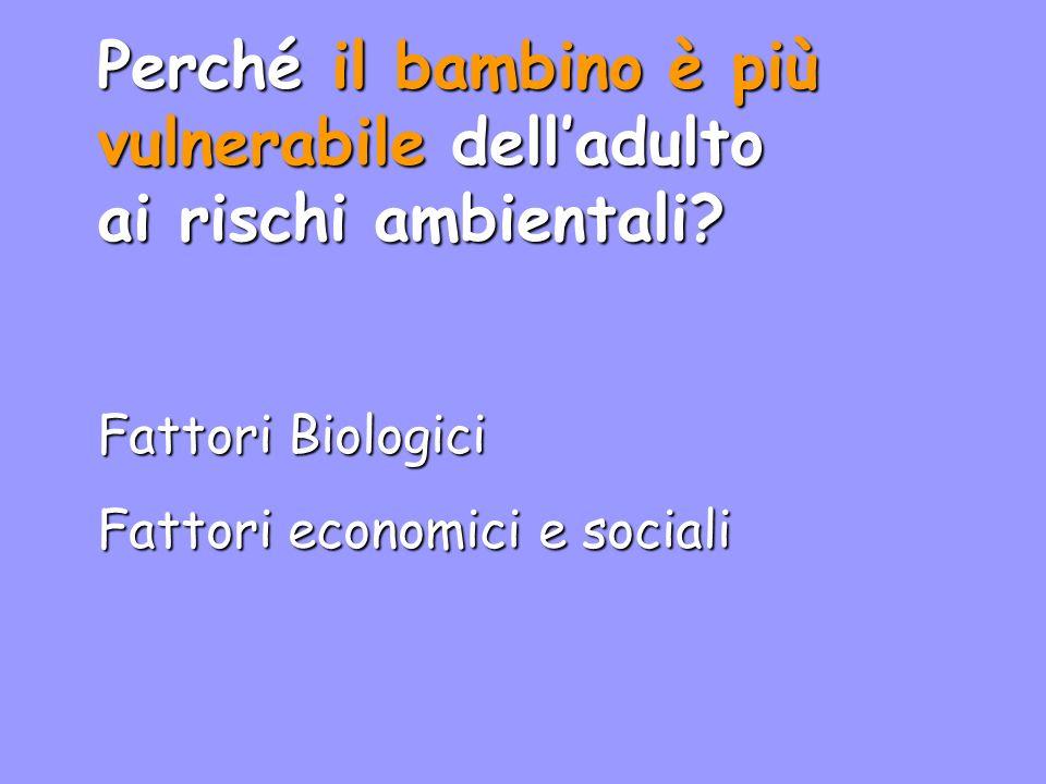 Fattori Socio-Economici Abitazioni in aree contaminate, industriali. Malnutrizione